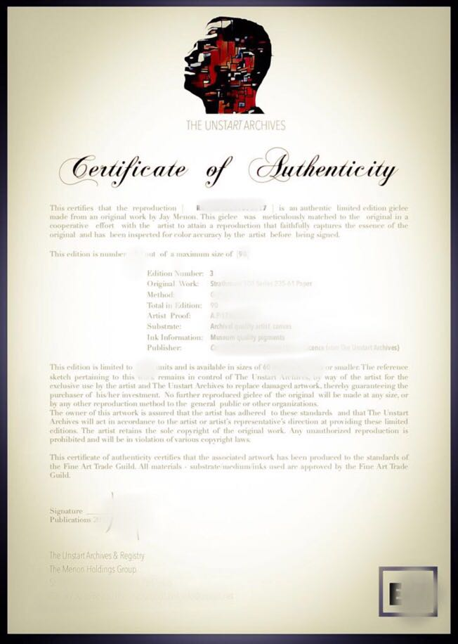 Unstart sample certificate of authenticity yadclub Gallery